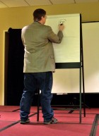 Panel: Authors vs Artists SFF Pictionary - Author Steve Long drawing, Mar 1