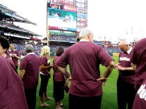 The group in the stadium, getting organized and waiting to sing, August 22, 2012