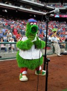 The Phanatic tries to warm up the singers, August 22, 2012