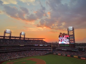 Sunset over the stadium, August 22, 2012