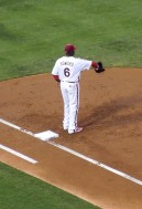 Ryan Howard warming up at the beginning of the inning, August 22, 2012