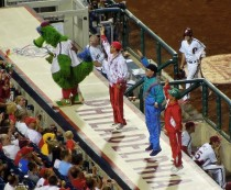 The Phanatic and fans, dancing and cheering for the team, August 22, 2012