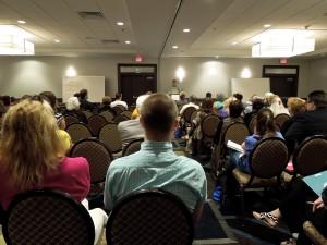 Writers listening to opening speaker William Lashner