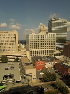 View from the 12th floor of the Winston-Salem Marriott on Cherry Street, 7-11-14
