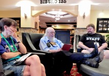 Allen Wold gives an informal reading in the hotel lobby, 7-10