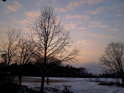 snow photo at sunset 2015