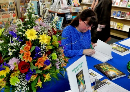Kerry Gans signing The Witch of Zal at her book launch at The Doylestown Bookshop, 3-19
