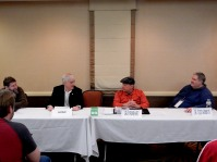 "Panel: ""I'm from Iowa, I Only Work in Outer Space"" with Daniel Wallace, Jim Beall, Gray Rinehart, and Tedd Roberts, 2-26"