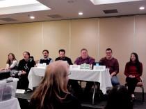 The Match Game panelists Nicole Zoltack, Billy Flynn, Michael A. Ventrella, Ben Mirabelli, John Watts, Tally Johnson, and Allegra Liana, 2-27