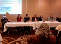 """Panel: """"Venus - A Prime Candidate for Colonization - Really"""" with Dr. Daniel F. Wallace, Abigail E. Wallace, Michael Solontoi, Charles Dischinger, Jim Beall, and Tedd Roberts, 2-27"""