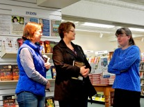 Kate Brandes and Donna Galanti chat with Kerry Gans at her book launch for The Witch of Zal at The Doylestown Bookshop.