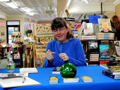 Kerry Gans signing The Witch of Zal at her book launch at The Doylestown Bookshop ,3-19