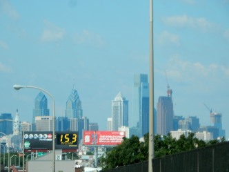 Center City Philadelphia from I-95, with City Hall topped by William Penn to the left and new construction to the right, on the third day of the Philadelphia Writers' Conference - 6-12