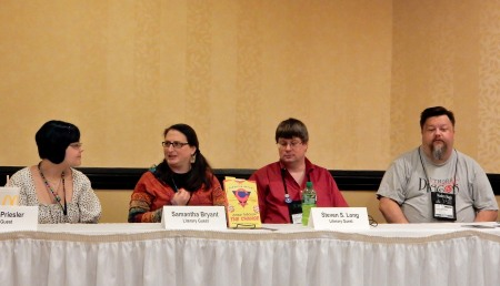 Panel: Superheroes and Why We Need Them with Maya Priesler, Samantha Bryant, Steven S. Long, and John G. Hartness, 7-16