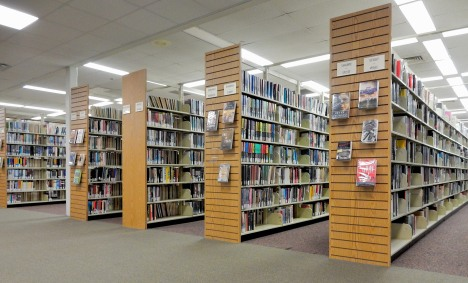 Fiction section of the main branch of the Burlington County Library, NJ
