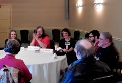 """Panel: """"Writing Hand-to-Hand Combat"""" with Elizabeth Crowens, Keith R. A. DeCandido, Anna Kashina, [convention attendee], and Bernie Mojzes, 11-19"""