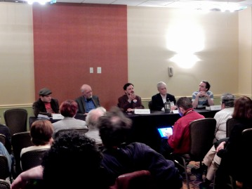 """Panel: """"Can Interplanetary Governments Actually Work?"""" with John Skylar, Tom Purdom, Michael A. Ventrella, James Beall, and Neil Clarke, 11-19"""
