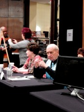 C. J. Cherryh and L. E. Modesitt at the autograph table, 11-20