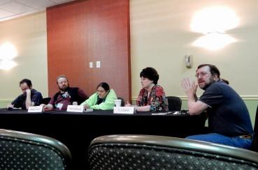 "Panel: Time Travel - ""Hard Reset or Branching Continuum"" with Gil Cnaan, Robert C. Roman, Elektra Hammond, C. J. Cherryh, and Jeff Warner, 11-20"