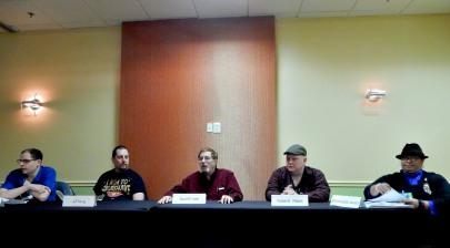 "Panel: ""What SHould I Read?"" with Stephen Mazur, Jeff Young, David Axler, Robert E. Waters, and Scheherazade Jackson, 11-20"