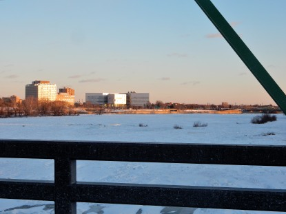 The Author Chronicles, J. Thomas Ross, Trenton at sunset, the frozen Delaware River, Calhoun Street Bridge