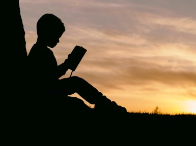The Author Chronicles, J. Thomas Ross, Photo by Aaron Burden on Unsplash, silhouette of boy reading
