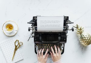 The Author Chronicles, J. Thomas Ross, typewriter, woman typing