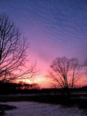 The Author Chronicles, J. Thomas Ross, sunset clouds, snow beneath winter sunset