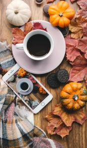 The Author Chronicles, J. Thomas Ross, Top Picks Thursday, Brigitte Tohm, coffee cup with pumpkins and smartphone